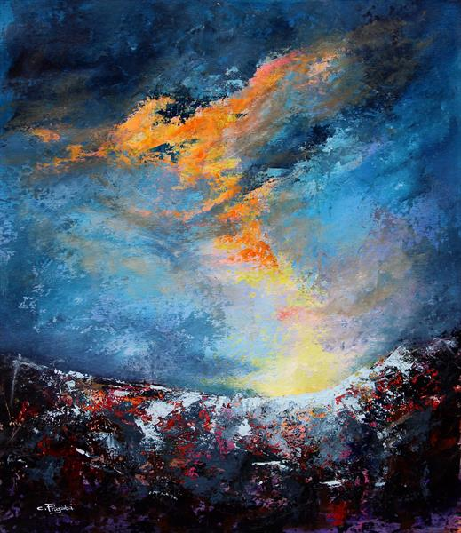 Electrified #2 -large atmospheric landscape painting by Cecilia Frigati