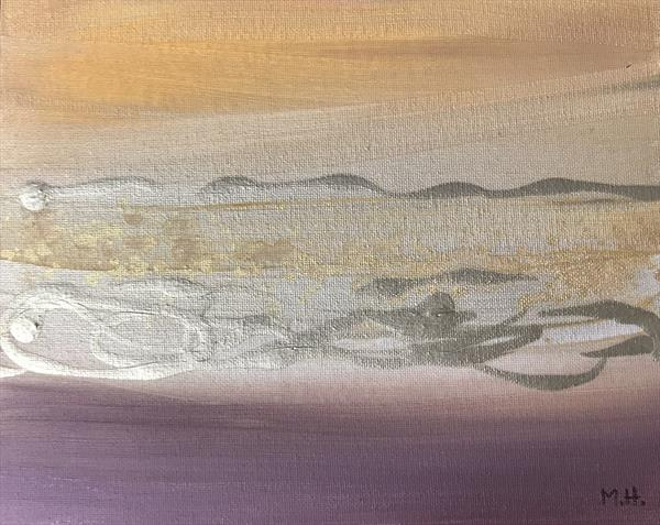 Gold and beige abstract  by Monika Howarth