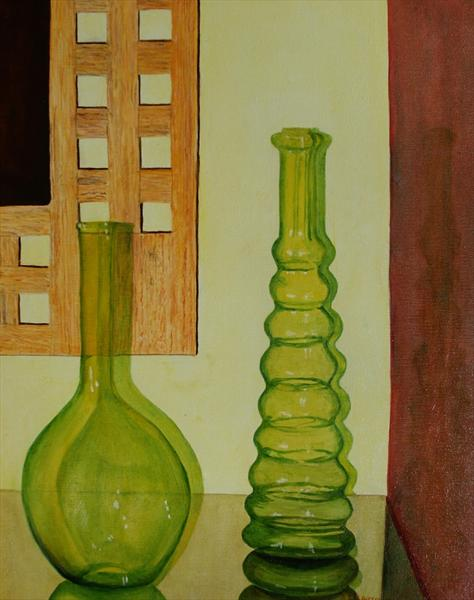 Two Glass Vases by Anthony Keith Whitehead