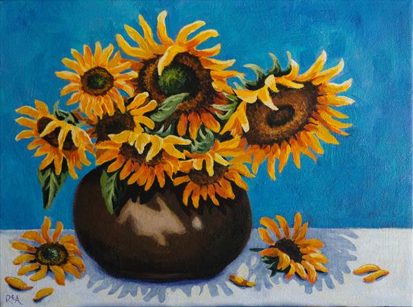 Sunflowers in Brown Vase by Ruth Archer