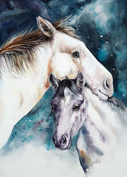 Watching Over You Horse and Colt by Arti Chauhan