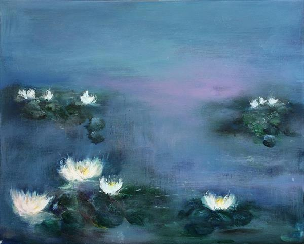Waterlily Pond  by Maxine Martin