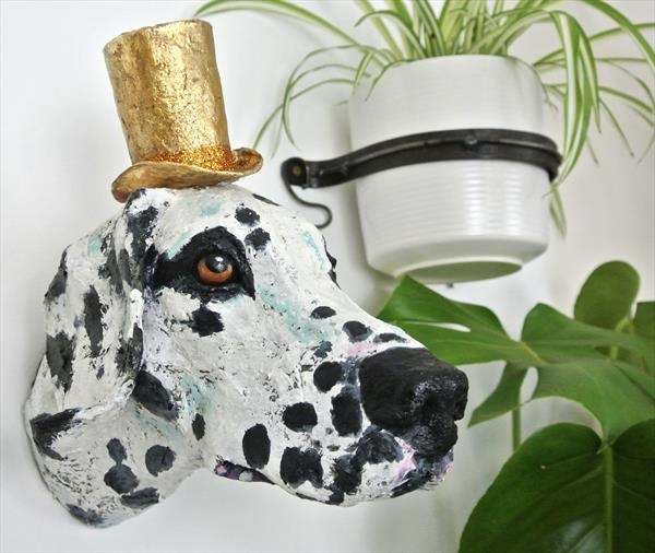 Good Vibes: mixed media dog sculpture by Victoria Coleman