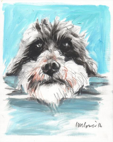 Scruffy Dog! - Charcoal and paint Terrier sketch by Luci Power