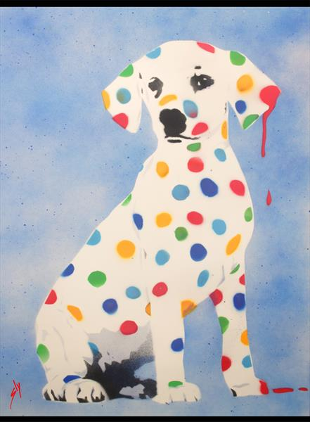 Damien's Dotty, Spotty, Puppy Dawg (On Paper) + Free Poem by Juan Sly