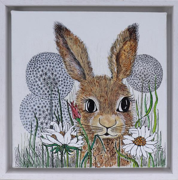 Young Hare in the dandelions  by Jean Turner