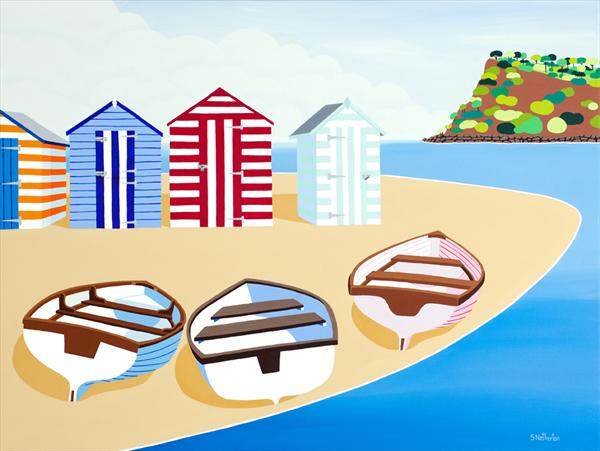 Boats and Beach Huts by Shirley Netherton
