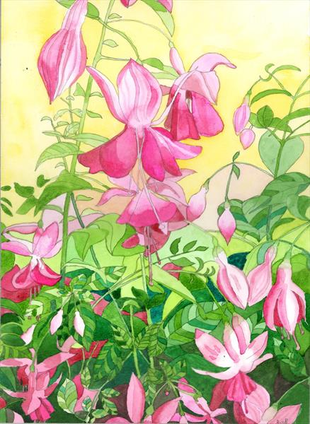 Pink Evening Fuchsias by Esmee Van Breugel