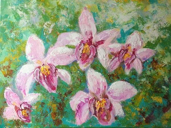 Pink Orchids  by Colette Baumback