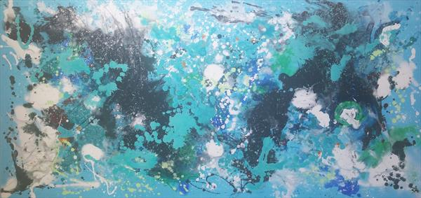 190x90cm(75''x35'') Into the water 2 , blue shades art, large canvas by Veronica Vilsan