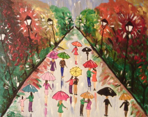 Colourful Umbrellas in a forest by Casimira Mostyn
