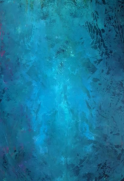 Spirit of the Lake - XL blue abstract painting by Ivana Olbricht