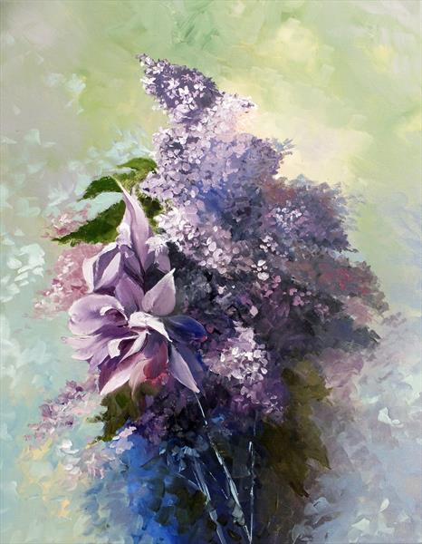 Iris with Lilacs Bouquet. by Elizabeth Williams