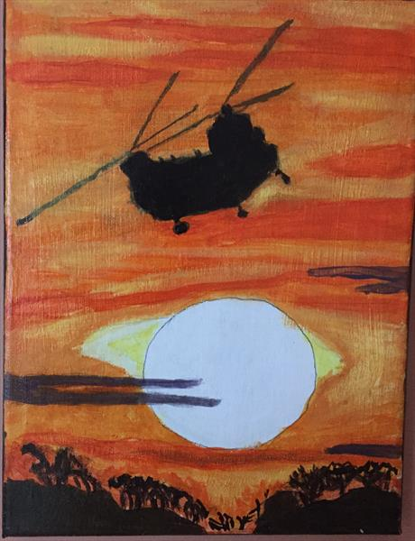 chinock helicopter in the sunset by MARK LEARY