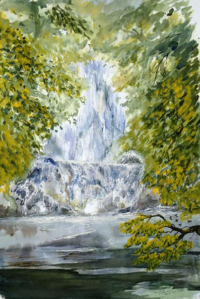 Waterfall with birds by Susan Hill