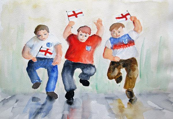 Football fans. Celebration. Football supporters. Soccer. by Marjan's Art