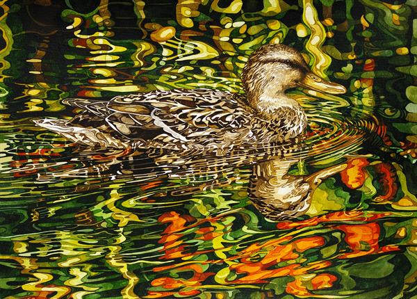 Duck With Orange Flower Reflection by Rhian Symes