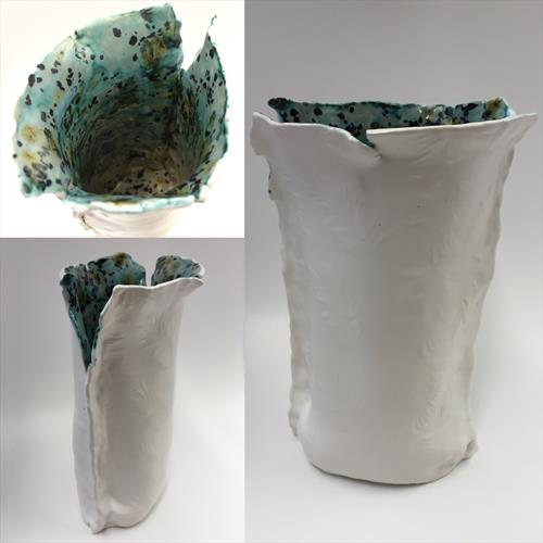 Matt White Hand Built Feather Vase by Julie Anne