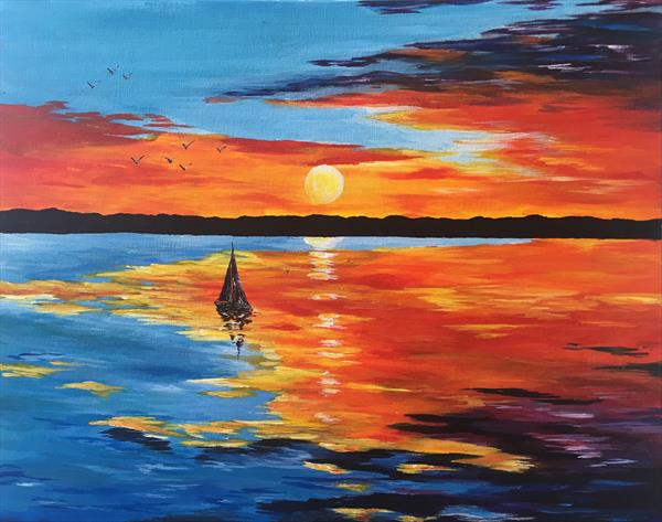 Sailing across the sunset by Emma Napier