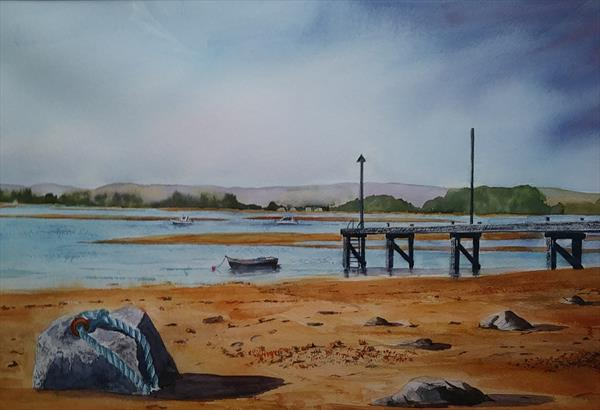 The Jetty at Ferryside Carmarthenshire by Gill Michael