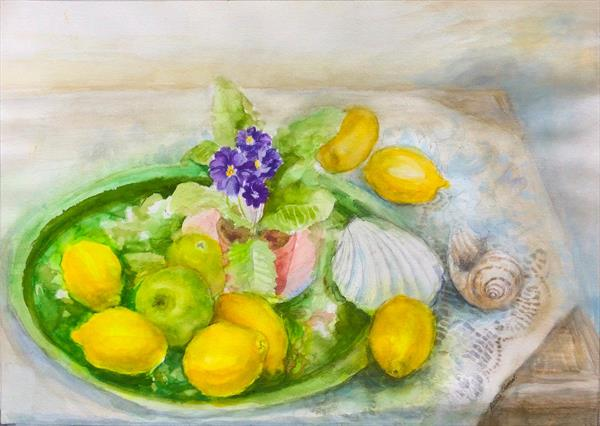 Shells and Lemons still life by Patricia Clements