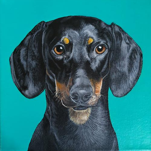 Dachshund Dog Painting Portrait. Pet Dog Lover. Happy by Karl Vang
