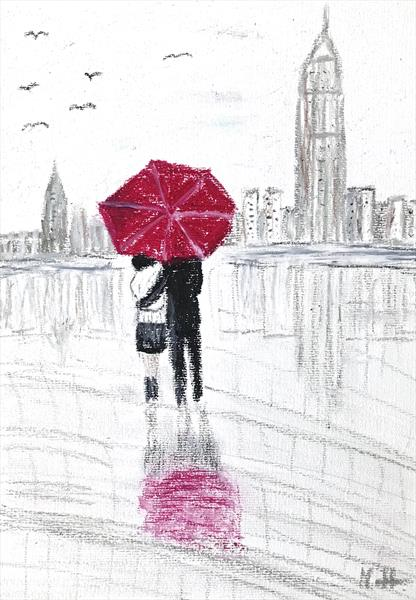 Love couple with red umbrella in New York by Monika Howarth