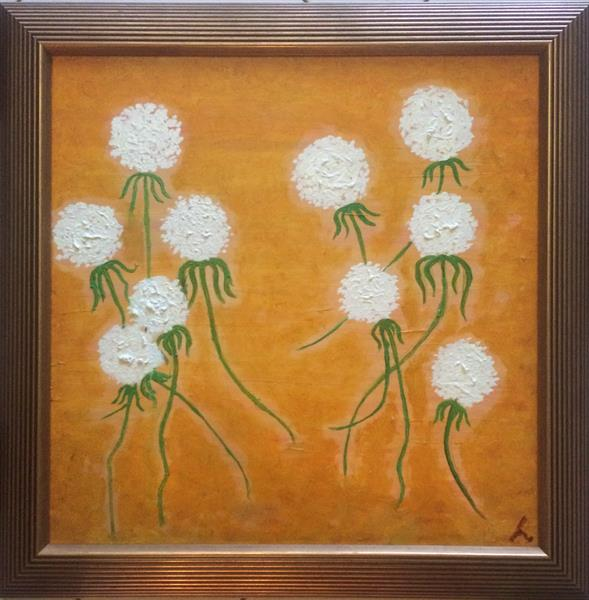 Original Abstract Oil Painting Dandelions by Mischa Sancheess
