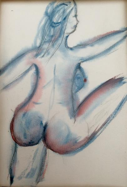 Lovely bottom of a nude can-can dancer by Laura Laube-Kurovska