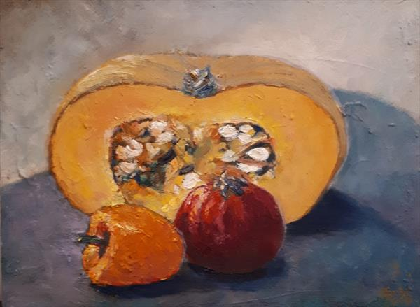 3P Still Life - Pumpkin, Pepper and Pomegranate. by Nijole Adomaitiene