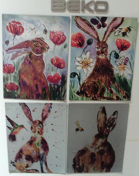 4 Hare Fridge Magnets by Casimira Mostyn
