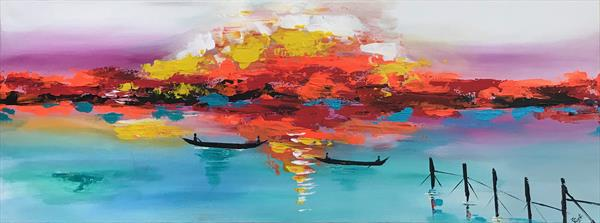 Sunset Abstract Painting 112  by  Rizna  Munsif