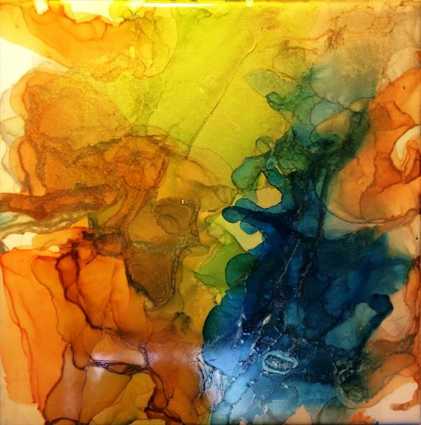 Exotic Minerals I Abstract painting on ceramic tile 6
