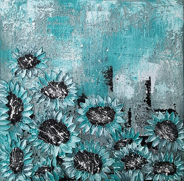 TURQUOISE SEA SUNFLOWERS by Cinzia Mancini