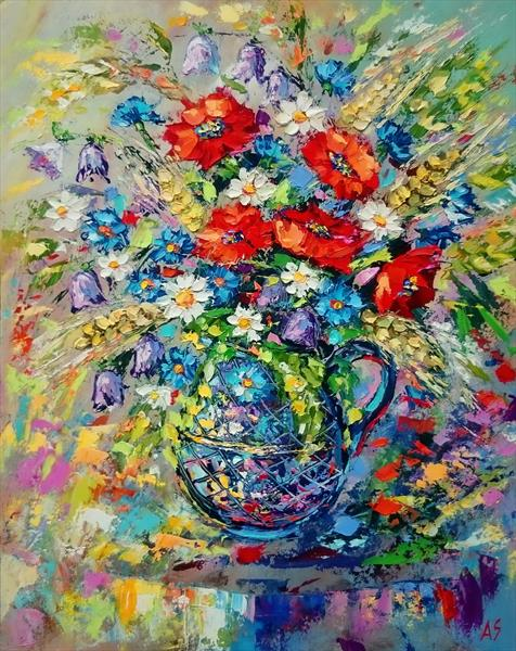 BOUQUET OF WILD FLOWERS WITH BELLS