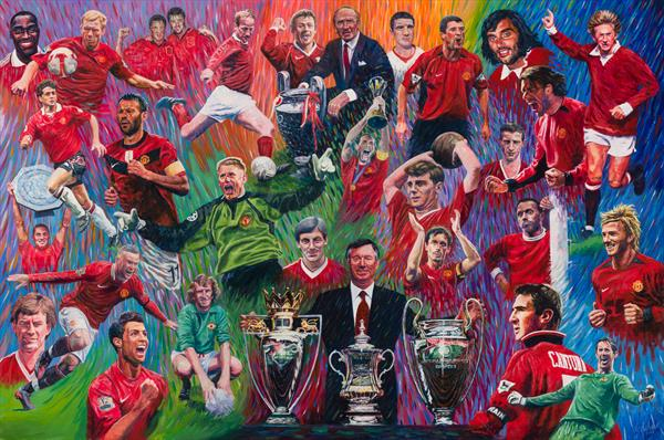 Manchester United FC Legends Print by Dod Dow