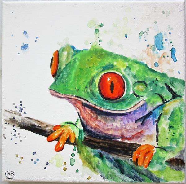 Tree Frog on canvas. Ready to hang by Marjan's Art