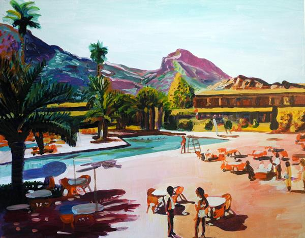 Palm Springs poolside in purple hues by Stephen Abela