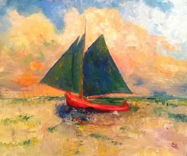 Small red boat at sea by Oksana Zilberstein