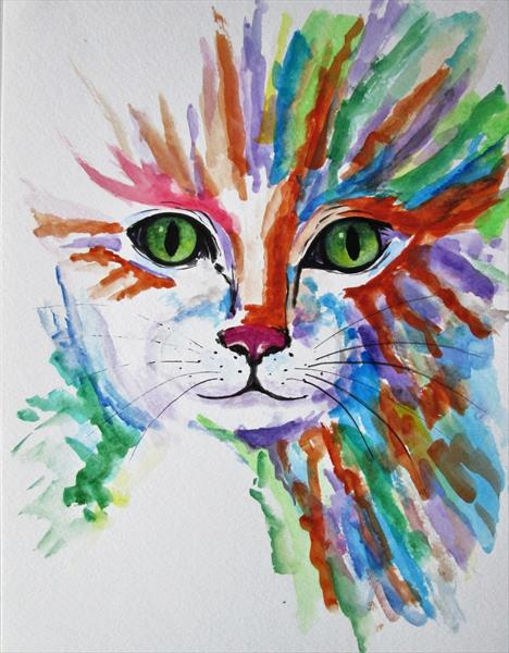 Cat eyes, kitten face, abstract cat painting by Marjan's Art