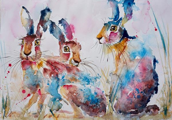 Three Startled Hares 42x30cm