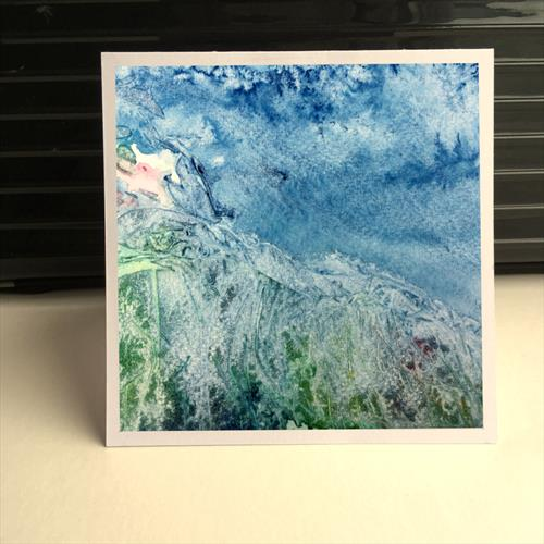 'Break In The Blue' and 'Green Atop' set of four greeting cards. by Iso Bella