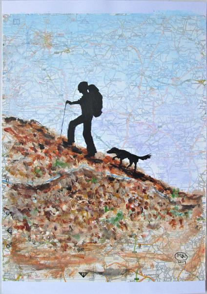 Backpacker and Dog by Marjan's Art