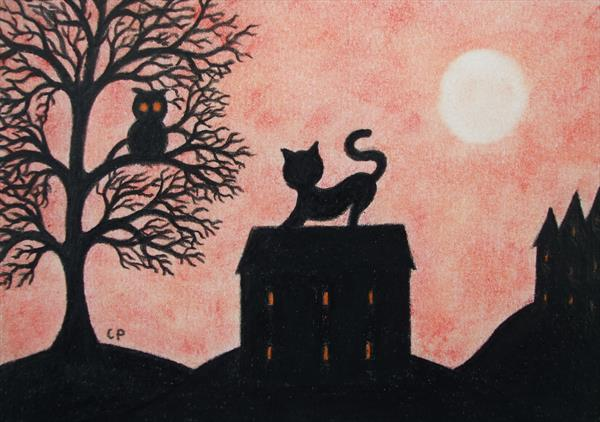 Cat on Roof (Framed) by Claudine Peronne