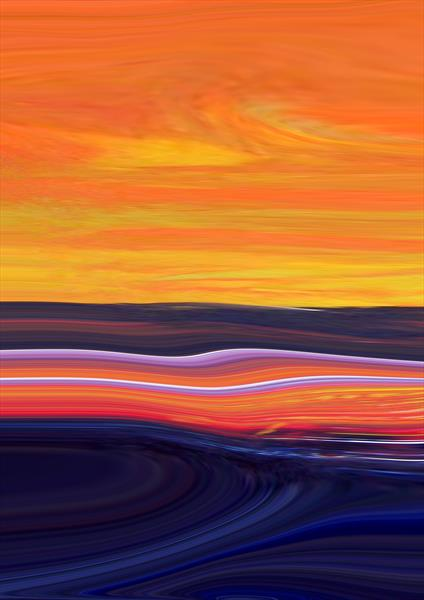 Blazing Sky Over The Deep Ocean XLarge A2 by Pauline Thomas