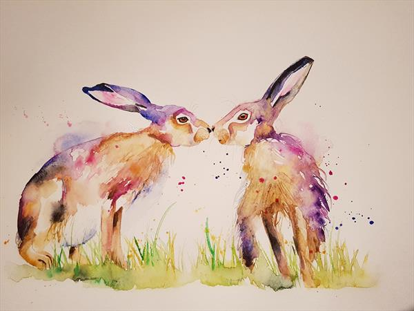 Kissing Hare  RESERVED by Eleanor SMITH
