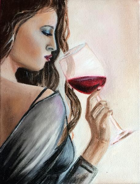 Lady with a glass of wine.  by Ira Whittaker