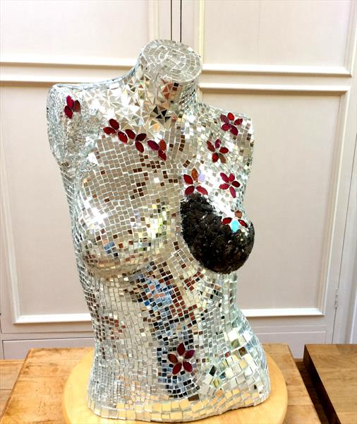 'Femme Fatale' Mosaic Sculpture on Vintage Mannequin by Maxine Martin