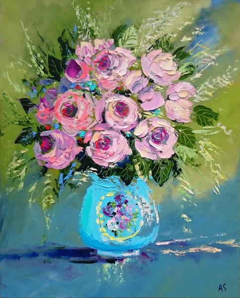 BOUQUET OF SMALL PEONIES; ORIGINAL PALETTE KNIFE OIL PAINTING; FRAMED by Alena Shymchonak