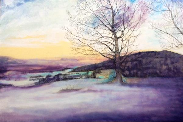 Butts Brow Sussex winter scene by Helena Manchip